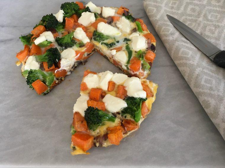 frittata, eggs, sweet potato, goats cheese, healthy, recipe