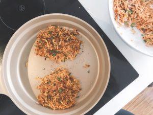 sweet potato rosti turn in pan