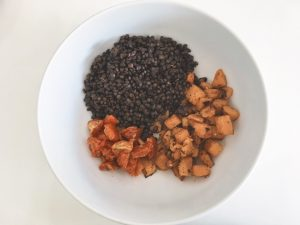Lentils & Squash Salad add lentils to bowl