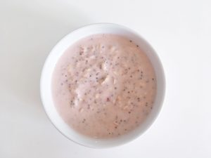 coconut overnight oats add to serving bowl