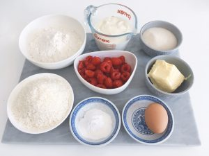 Coconut muffins with raspberries ingredients