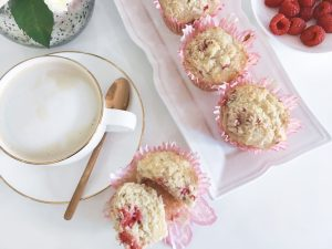 Coconut muffins with raspberries serve 8