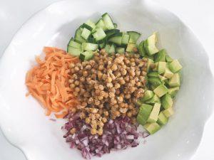 Parmesan Chickpeas salad add salad ingredients