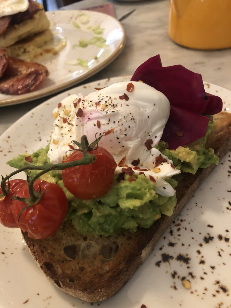 brunch avocado toast with poached egg
