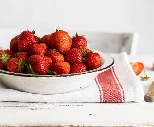 summer strawberries in bowl